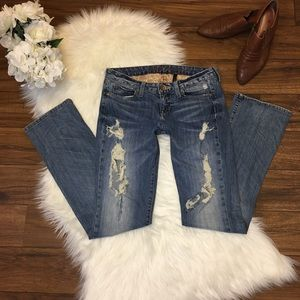 GUESS Distressed Boot Cut Jeans. Size 28.